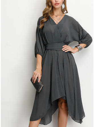 Solid 3/4 Sleeves A-line Knee Length Party/Elegant Dresses