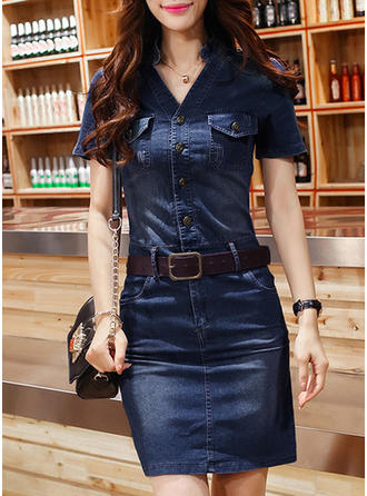 Solid Short Sleeves Sheath Above Knee Casual Dresses