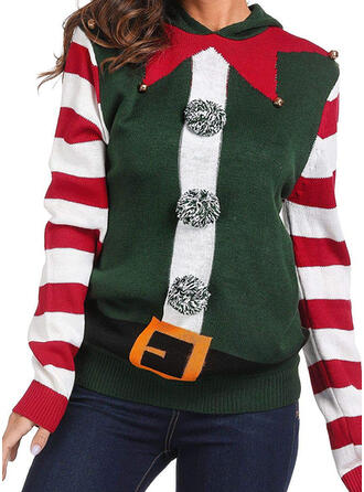 Women's Polyester Striped Ugly Christmas Sweater