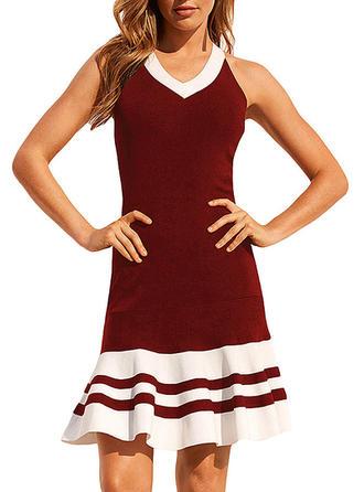 Striped V-neck Knee Length Sheath Dress