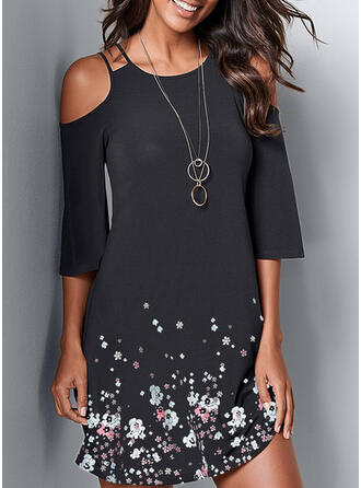 Print/Floral Cold Shoulder Sleeve Sheath Above Knee Casual Dresses