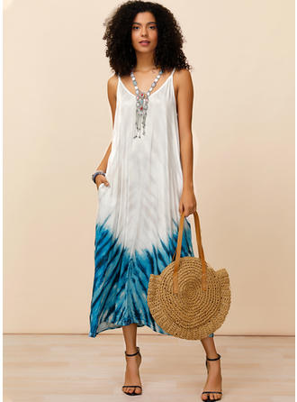 Print Sleeveless Shift Midi Casual/Vacation Dresses