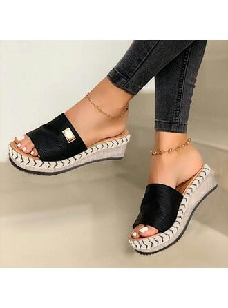 Mulheres Camurça Plataforma Sandálias Plataforma Calços Peep toe Chinelos com Outros Cor sólida sapatos