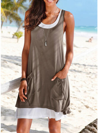 Solid Color Strap Round Neck Sexy Plus Size Boho Cover-ups Swimsuits