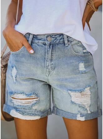 Над коліном Випадковий Плюс розмір Pocket ripped ґудзики Штани Шорти Джинси & Джинси