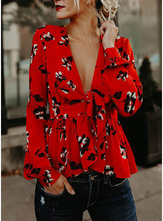 Print V Neck 3/4 Sleeves Casual Elegant Sexy Ruffle Blouses