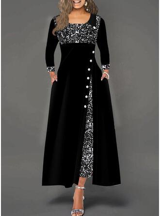 Cekiny Długie rękawy W kształcie litery A Łyżwiaż Elegancki Maxi Sukienki