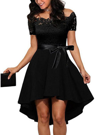 Lace/Solid Short Sleeves A-line Asymmetrical Little Black/Party/Elegant Dresses
