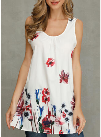 Print Floral Round Neck Sleeveless Casual Tank Tops (1003270912)