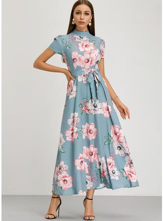 Εκτύπωση/Φλοράλ Κοντά Μανίκια Φαρδύ Κάτω Εποχής/Κομψό Μάξι Сукні