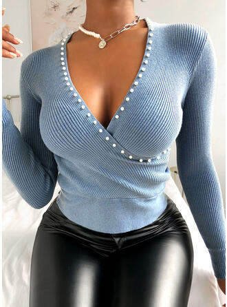 Solid Beaded V-Neck Long Sleeves Casual Knit Blouses