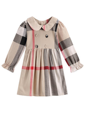 Girls Round Neck Striped Casual Dress