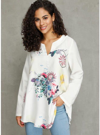 Floral V-neck Long Sleeves Button Up Casual Elegant Blouses