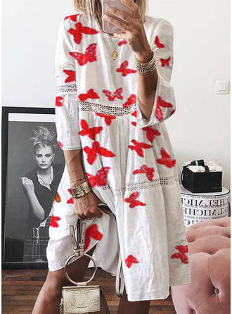 Print/Floral 3/4 Sleeves Shift Knee Length Casual Dresses