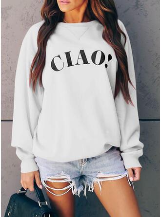 Print rund hals Lange ærmer Sweatshirts