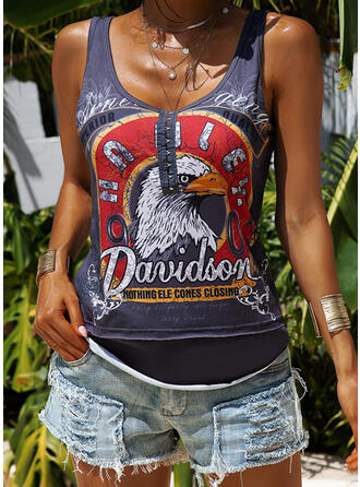 Animal Print Figure Round Neck Sleeveless Casual Tank Tops