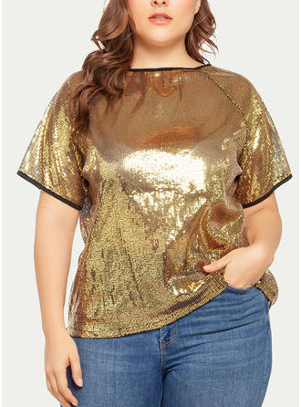 Sequins Round Neck Short Sleeves Casual Blouses