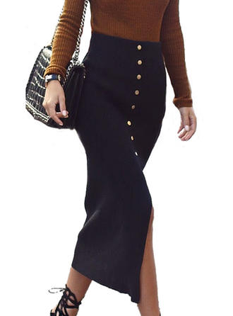 Cotton Plain Mid-Calf Pencil Skirts High-Slit Skirts