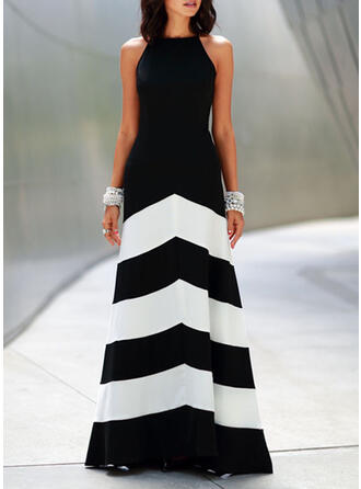 Striped Sleeveless A-line Party Maxi Dresses