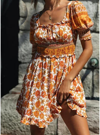 Print/Floral 1/2 Sleeves A-line Above Knee Casual/Vacation Dresses