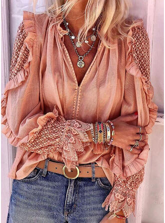 Floral V-Neck Long Sleeves Casual Elegant Blouses