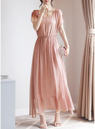 Solid Ruffles Round Neck Maxi A-line Dress