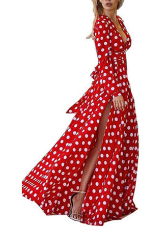 PolkaDot Long Sleeves A-line Casual/Boho/Vacation Maxi Dresses