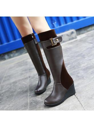 Mulheres PU Plataforma Bota no joelho com Fivela Zíper sapatos