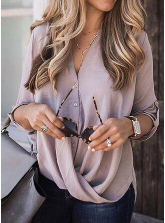 Solid V-Neck 3/4 Sleeves Button Up Casual Elegant Blouses