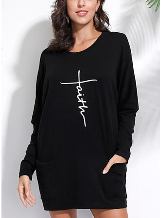 Print Figure Round Neck Long Sleeves Casual Knit T-shirts
