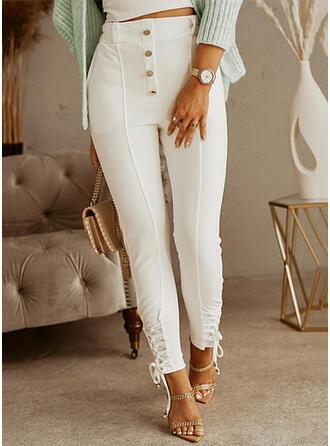 Sólido Largo Casual Tallas Grande Bolsillo Encajar knot Botones Pantalones