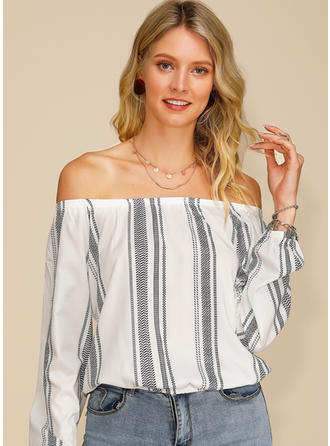 Print Off the Shoulder Long Sleeves Casual Sexy Blouses