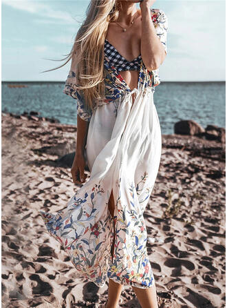 Floral Print Drawstring Bohemian Cover-ups Swimsuits