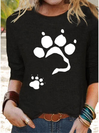 Nadruk Zwierzę Okrągły dekolt Długie rękawy T-shirty