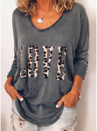 Animal Print V-neck Long Sleeves Casual Blouses