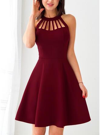 Couleur Unie Sans Manches Trapèze Longueur Genou Petites Robes Noires/Fête/Élégante Patineuse Robes