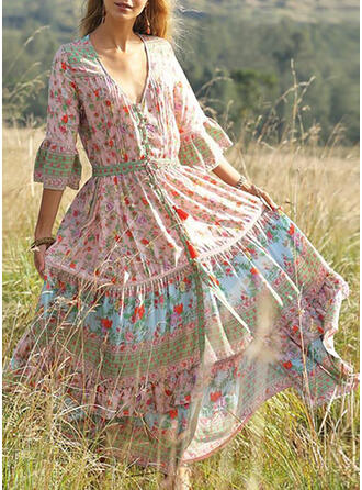 Print/Floral 3/4 Sleeves/Flare Sleeves A-line Casual/Boho/Vacation Midi Dresses