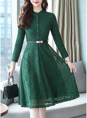 Lace Stand collar Knee Length A-line Dress
