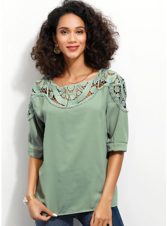 Lace Round Neck 1/2 Sleeves Casual Elegant Knit Blouses