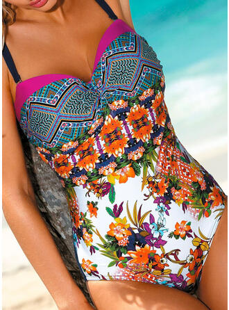 Floral Print Push Up Strap Beautiful Bohemian One-piece Swimsuits