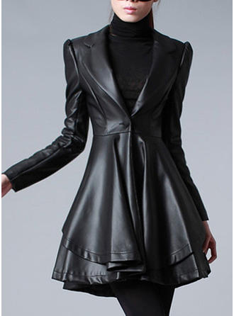 Leather Long Sleeves Plain Slim Fit Coats