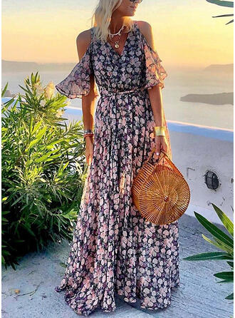 Print/Floral Cold Shoulder Sleeve A-line Casual/Vacation Maxi Dresses