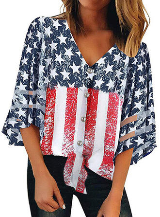 Print V-Neck Flare Sleeve 3/4 Sleeves Button Up Casual Blouses