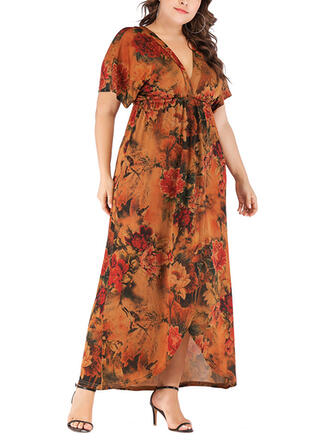 Print/Floral Short Sleeves A-line Vacation/Plus Size Maxi Dresses