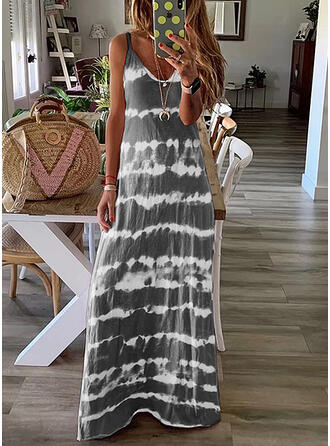 Striped Sleeveless Shift Casual Maxi Dresses