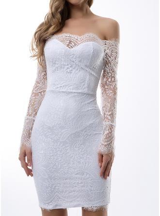 Lace Off-the-Shoulder Knee Length Sheath Dress