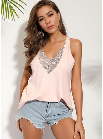 Solid Lace V-Neck Sleeveless Casual Elegant Tank Tops