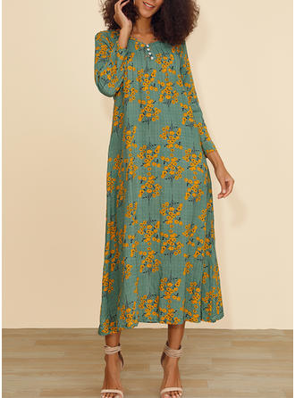 Print/Floral 3/4 Sleeves Shift Midi Casual Dresses