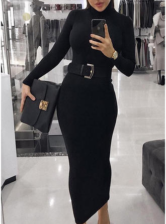 Solid High Neck Midi Bodycon Dress