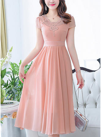 Lace Solid Ruffles V-neck Midi A-line Dress
